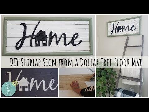 DIY $6 SHIPLAP SIGN | DOLLAR TREE FLOOR MAT | FARMHOUSE | HOME DECOR | EASY