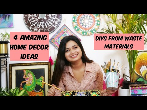 4 Easy DIY Home Decor Ideas from Waste Material | No Cost Home Decoration Ideas for Living Room