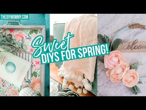 SPRING DIY ROOM DECOR 🌸 Easy Tray, Blanket & Wreath