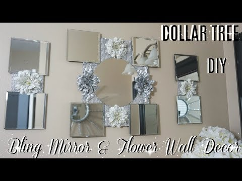 DIY DOLLAR TREE FLOWER MIRROR WALL DECOR | EASY INEXPENSIVE HOME DECOR IDEAS 2018 | PETALISBLESS