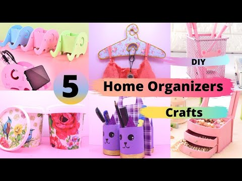 5 Awesome DIY Home Decor and organizers Craft Idea / Home Organizers from Cardboard/ Room Organizers