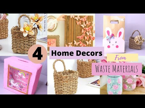 4 Cool Home Decor Items Made From Waste Materials / DIY Home Decors