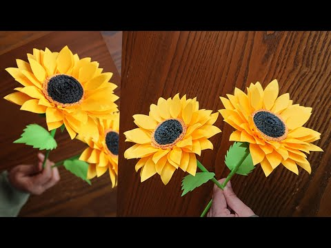 Easy Way To Make Beautiful Paper Sunflower – Paper Craft – Paper Flower – DIY Home Decor