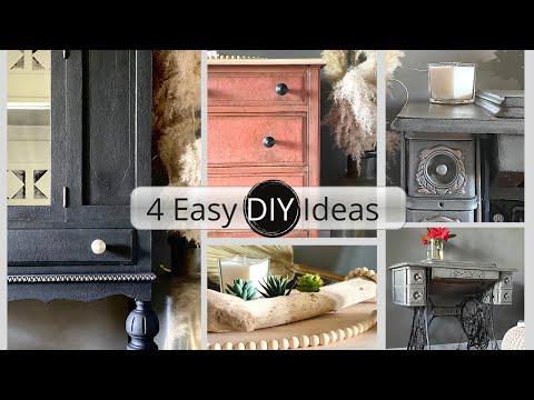4 Easy DIY Home Decor Ideas: Painted Furniture Makeover & Ikea Hack | ASMR diy home decor
