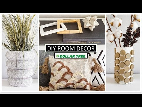 DIY DOLLAR TREE RooM DecOR PROJECTS, UNCONVENTIONAL MATERIALS CHALLENGE, EASY AND CHEAP, 2021